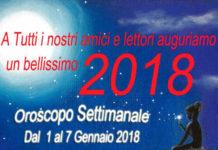 oroscopo della settimana dal 1 gennaio 2018