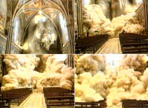 sequenza immagini del crollo del soffitto della Basilica Superiore