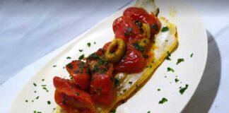 spigola con olive e pachini